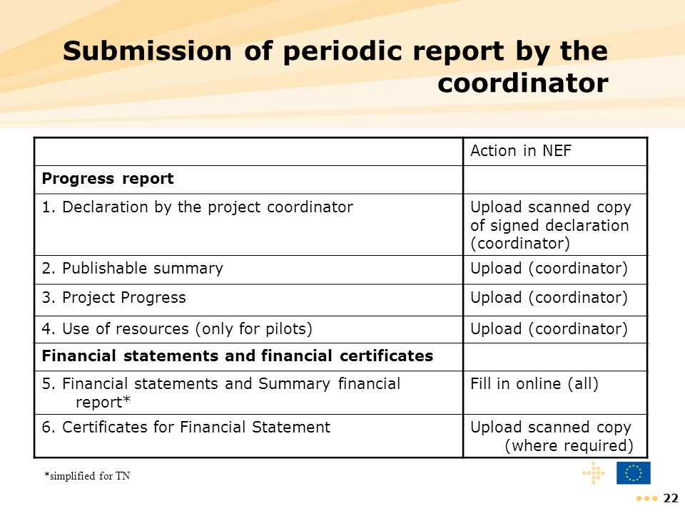 Submission of periodic report by the coordinator