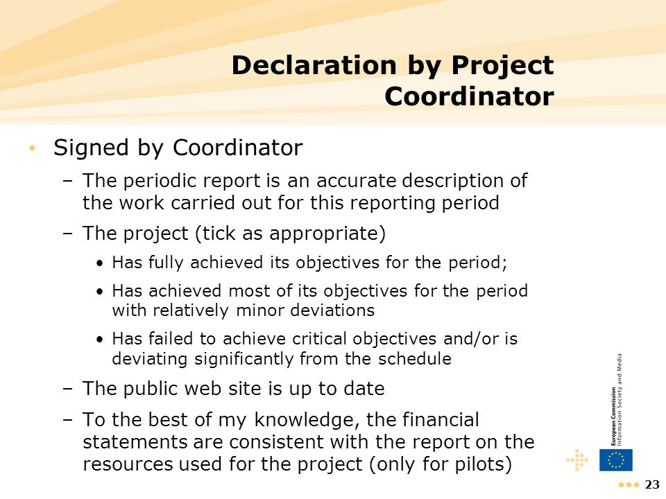 Declaration by Project Coordinator