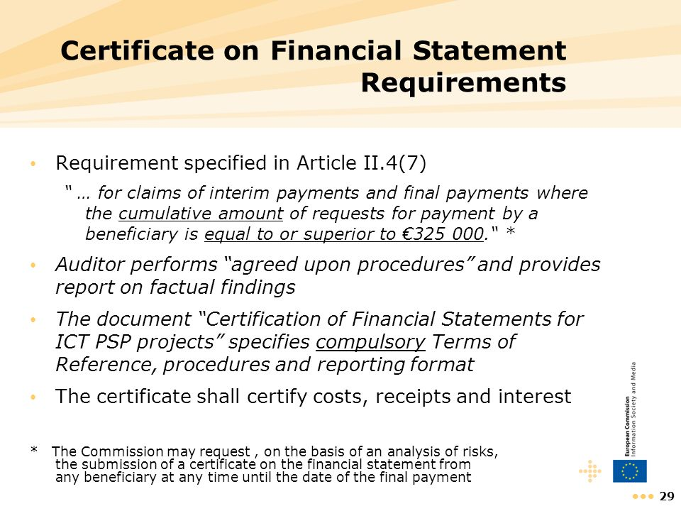 Certificate on Financial Statement Requirements