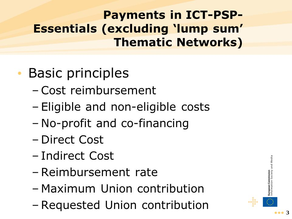 Payments in ICT-PSP- Essentials (excluding 'lump sum' Thematic Networks)