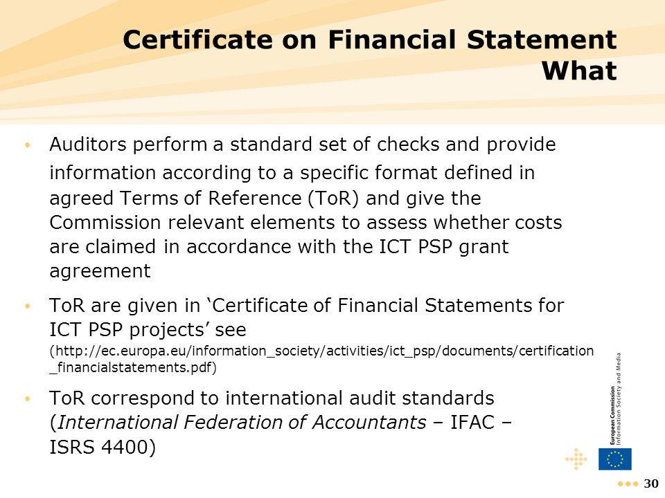 Certificate on Financial Statement What