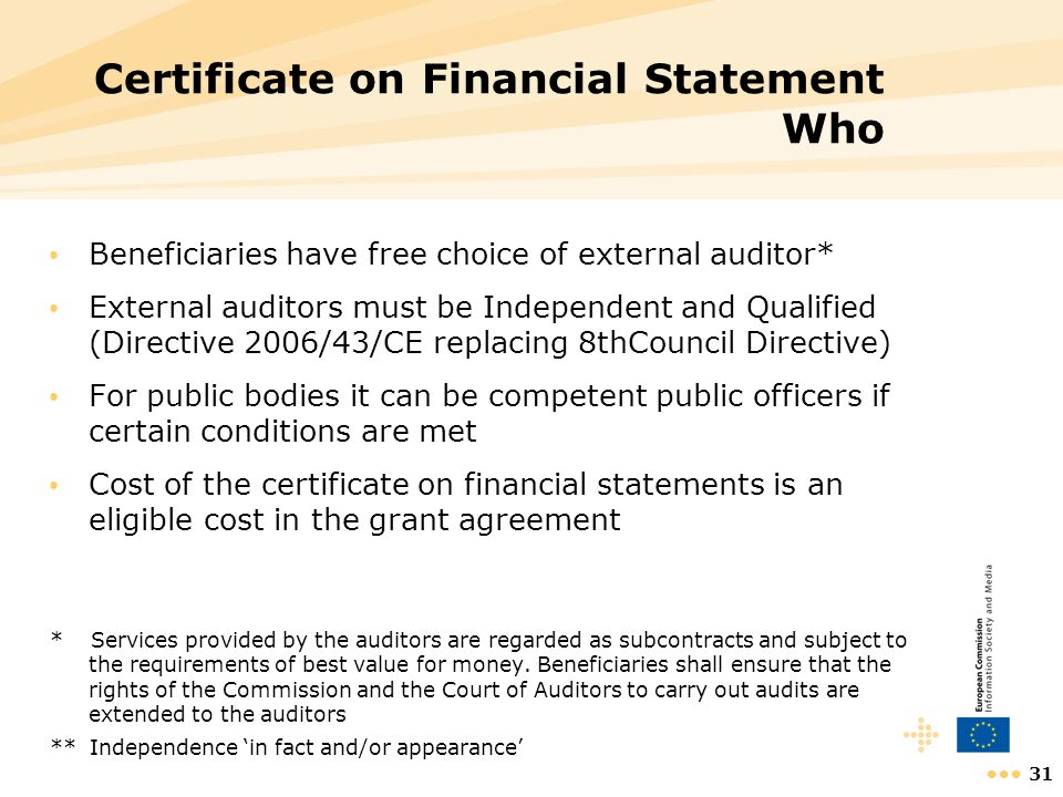Certificate on Financial Statement Who