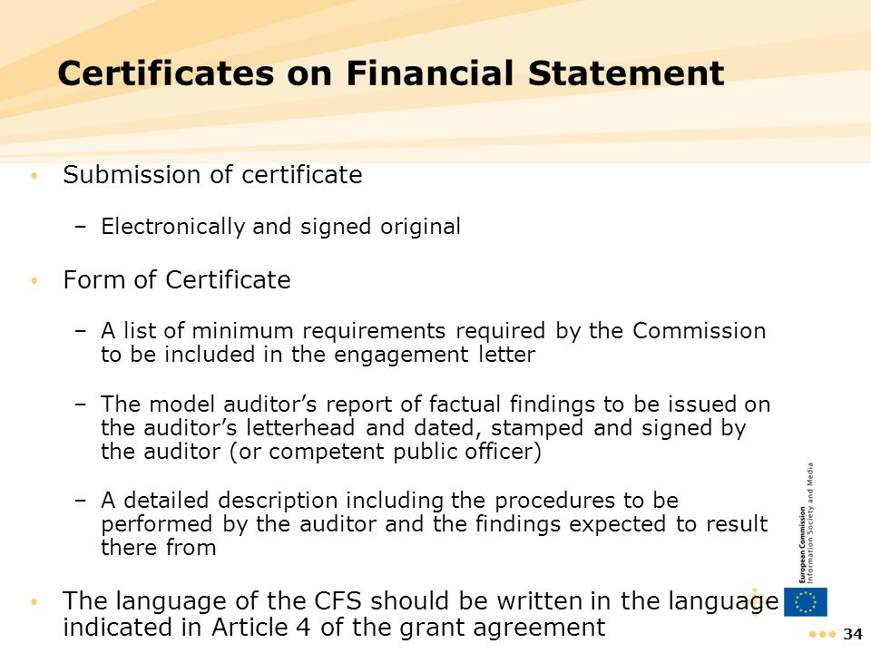 Certificates on Financial Statement