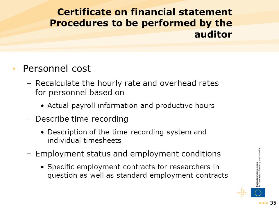 Certificate on financial statement Procedures to be performed by the auditor