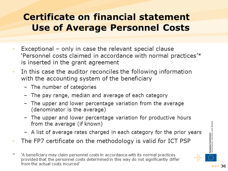 Certificate on financial statement Use of Average Personnel Costs