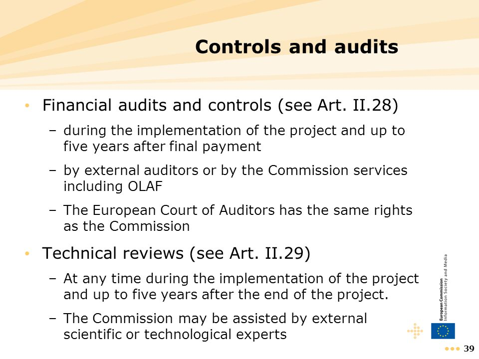 Controls and audits Financial audits and controls (see Art. II.28)