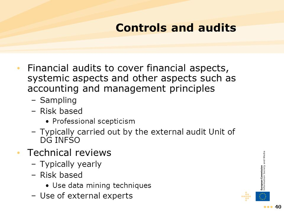 Controls and audits Financial audits to cover financial aspects, systemic aspects and other aspects such as accounting and management principles.