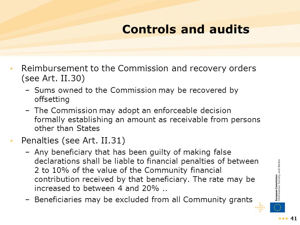 Controls and audits Reimbursement to the Commission and recovery orders (see Art. II.30) Sums owned to the Commission may be recovered by offsetting.