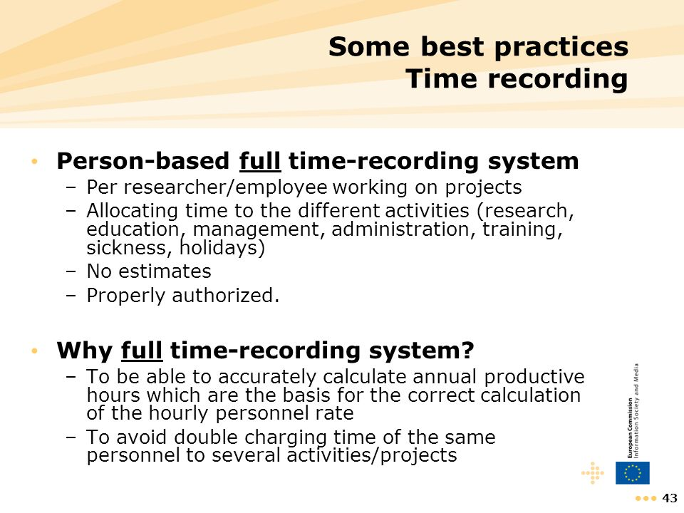 Some best practices Time recording