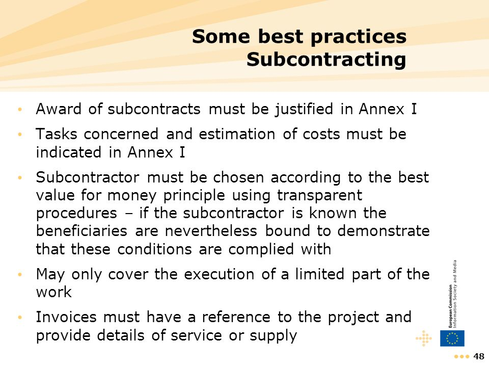 Some best practices Subcontracting