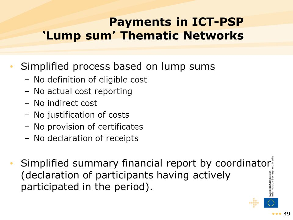Payments in ICT-PSP 'Lump sum' Thematic Networks