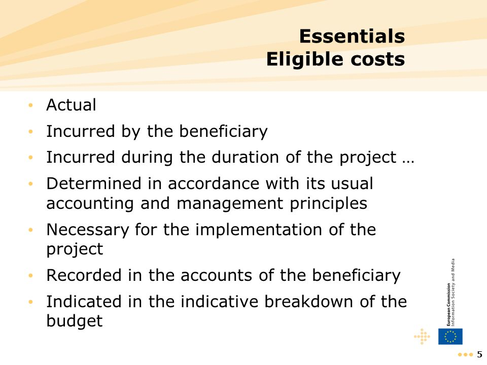 Essentials Eligible costs