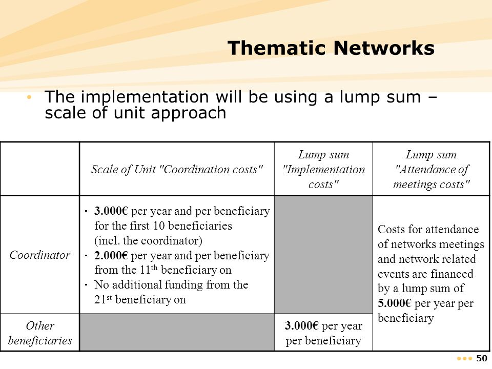 Thematic Networks The implementation will be using a lump sum – scale of unit approach. Scale of Unit Coordination costs