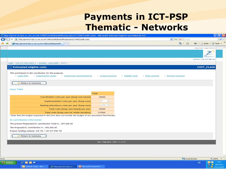 Payments in ICT-PSP Thematic - Networks