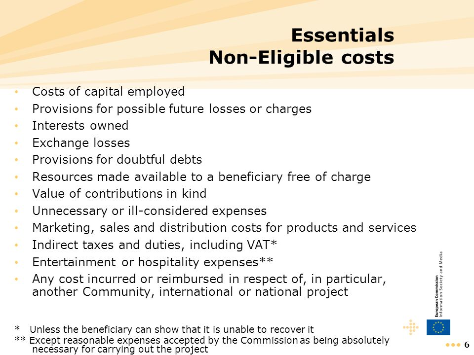 Essentials Non-Eligible costs