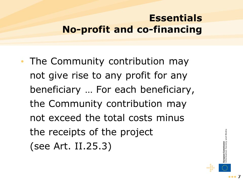 Essentials No-profit and co-financing