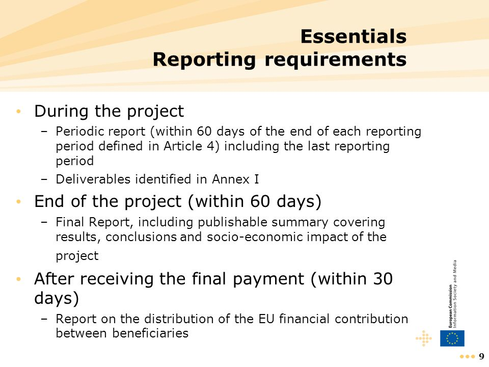 Essentials Reporting requirements