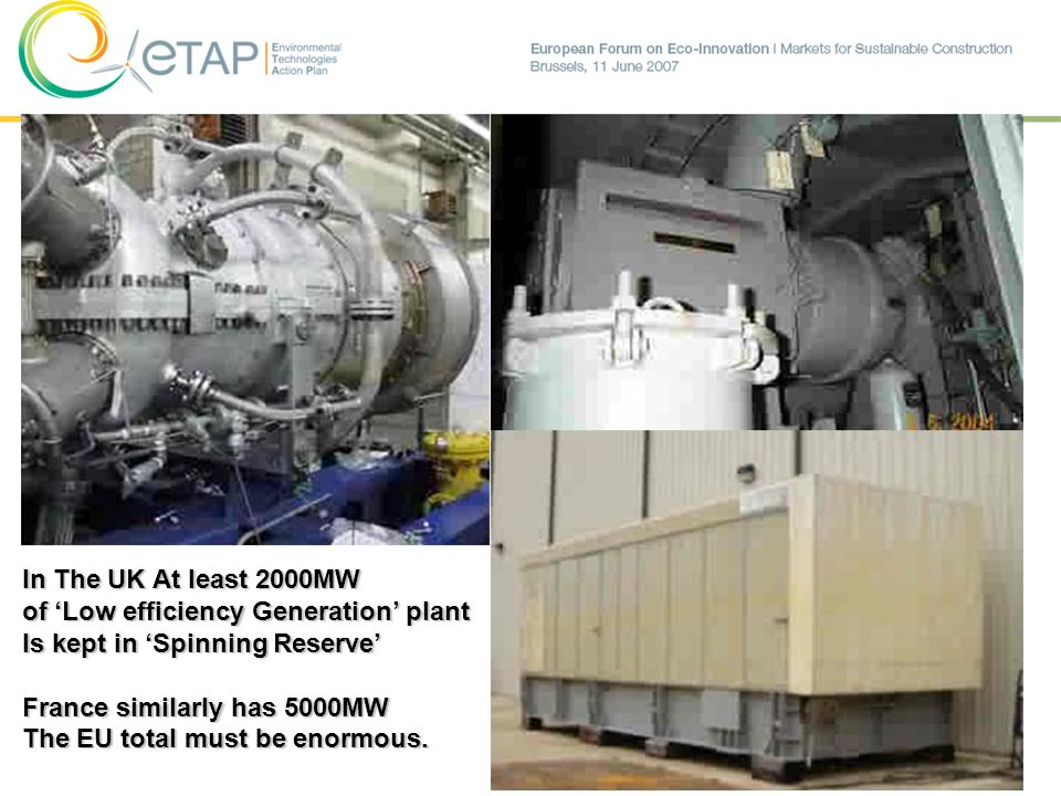 In The UK At least 2000MW of 'Low efficiency Generation' plant. Is kept in 'Spinning Reserve' France similarly has 5000MW.
