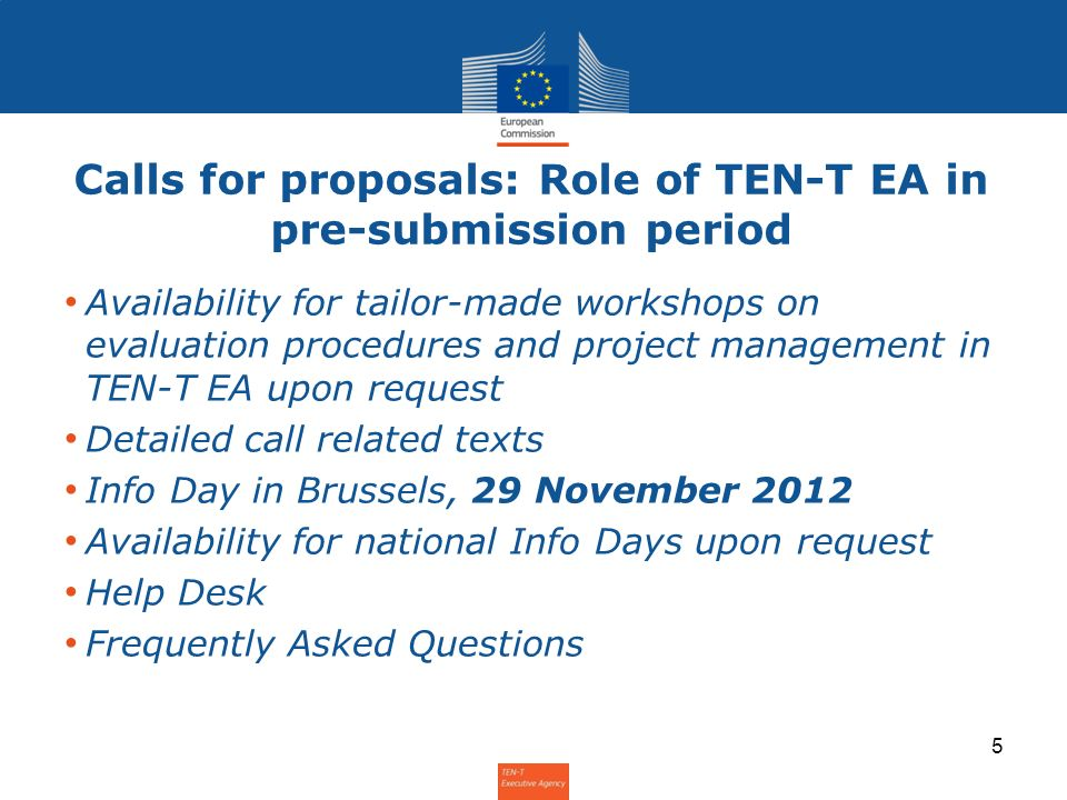 Calls for proposals: Role of TEN-T EA in pre-submission period