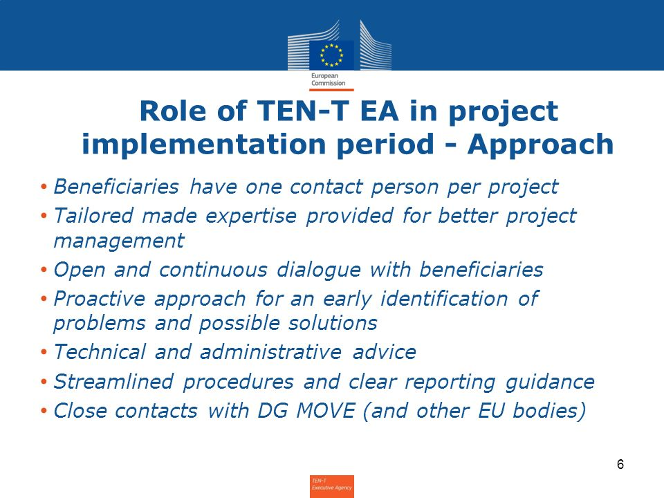 Role of TEN-T EA in project implementation period - Approach