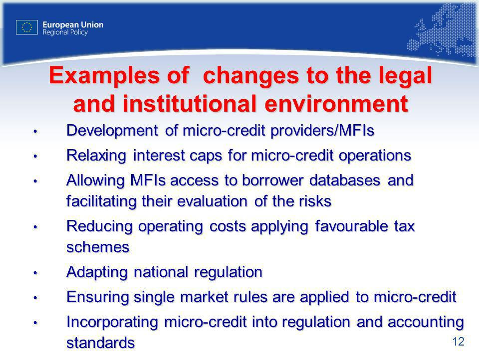 Examples of changes to the legal and institutional environment
