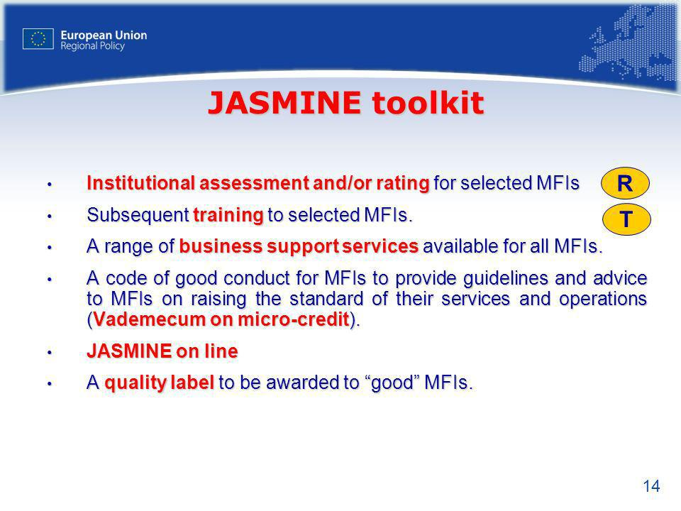 JASMINE toolkit Institutional assessment and/or rating for selected MFIs. Subsequent training to selected MFIs.