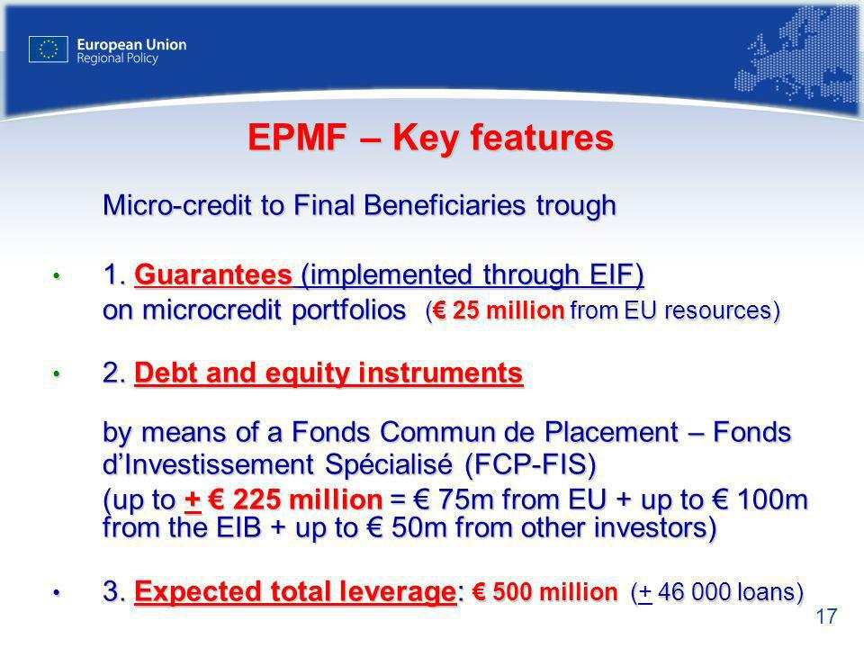 EPMF – Key features Micro-credit to Final Beneficiaries trough. 1. Guarantees (implemented through EIF)