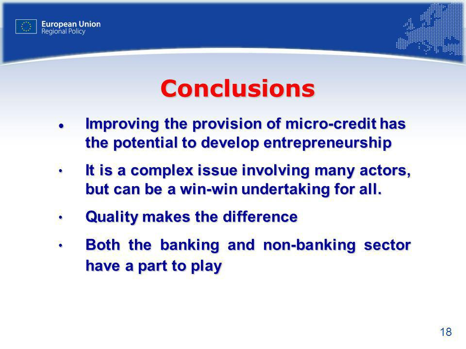 Conclusions Improving the provision of micro-credit has the potential to develop entrepreneurship.