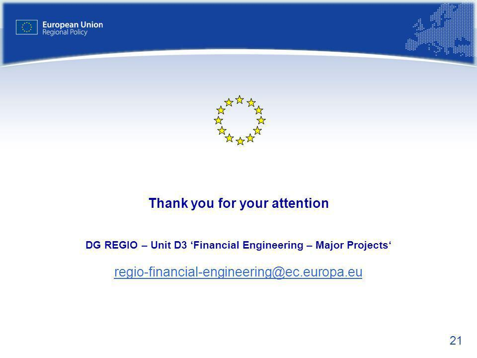 Thank you for your attention DG REGIO – Unit D3 'Financial Engineering – Major Projects' regio-financial-engineering@ec.europa.eu