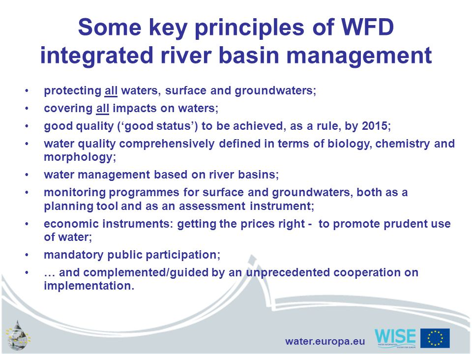 Some key principles of WFD integrated river basin management