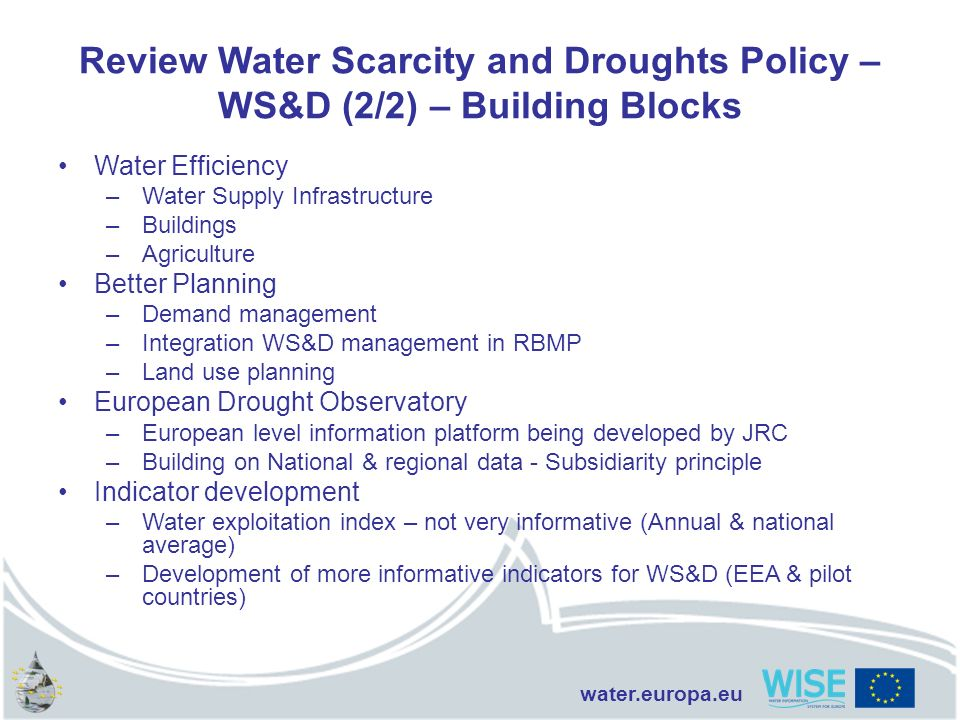 Review Water Scarcity and Droughts Policy – WS&D (2/2) – Building Blocks