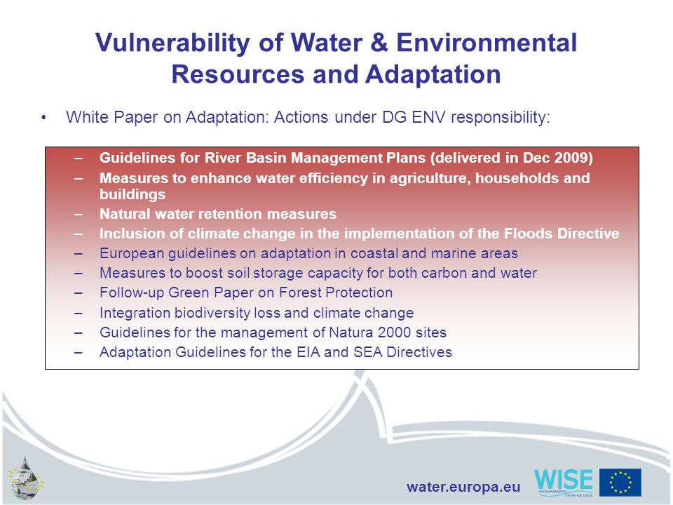 Vulnerability of Water & Environmental Resources and Adaptation
