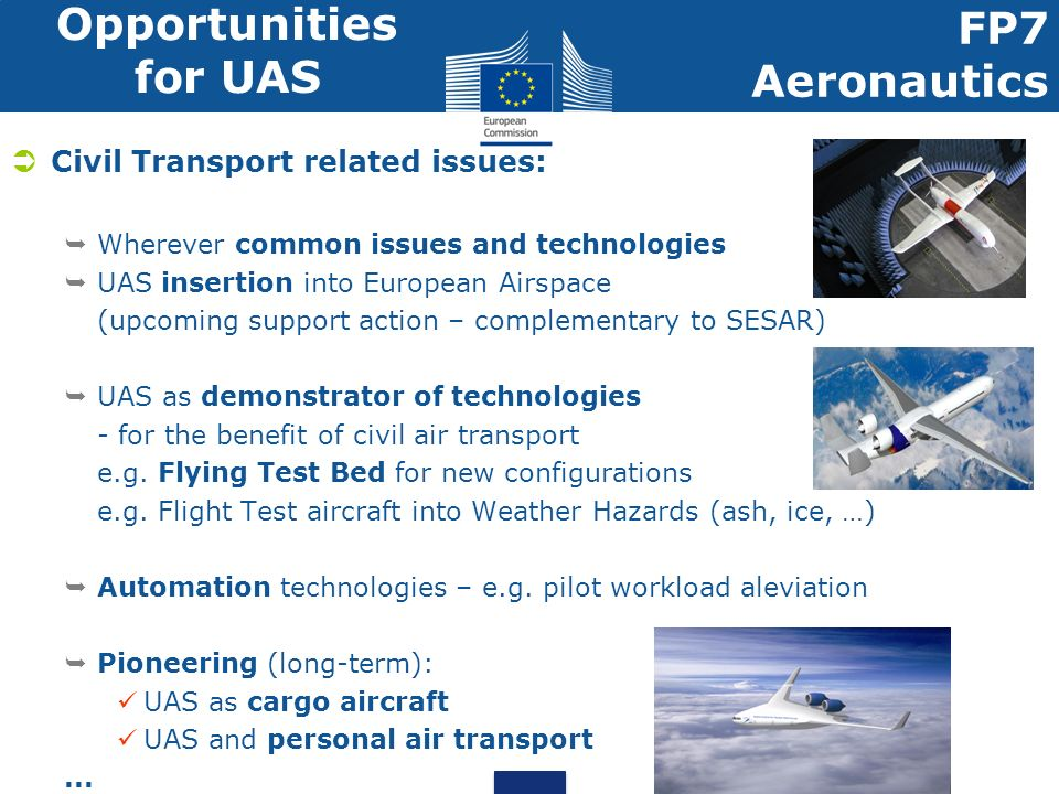 Opportunities for UAS FP7 Aeronautics Civil Transport related issues: