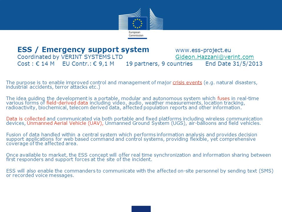 ESS / Emergency support system. www. ess-project