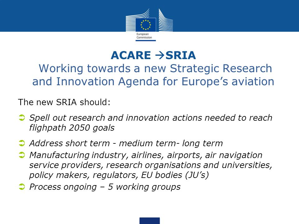 ACARE SRIA Working towards a new Strategic Research and Innovation Agenda for Europe's aviation