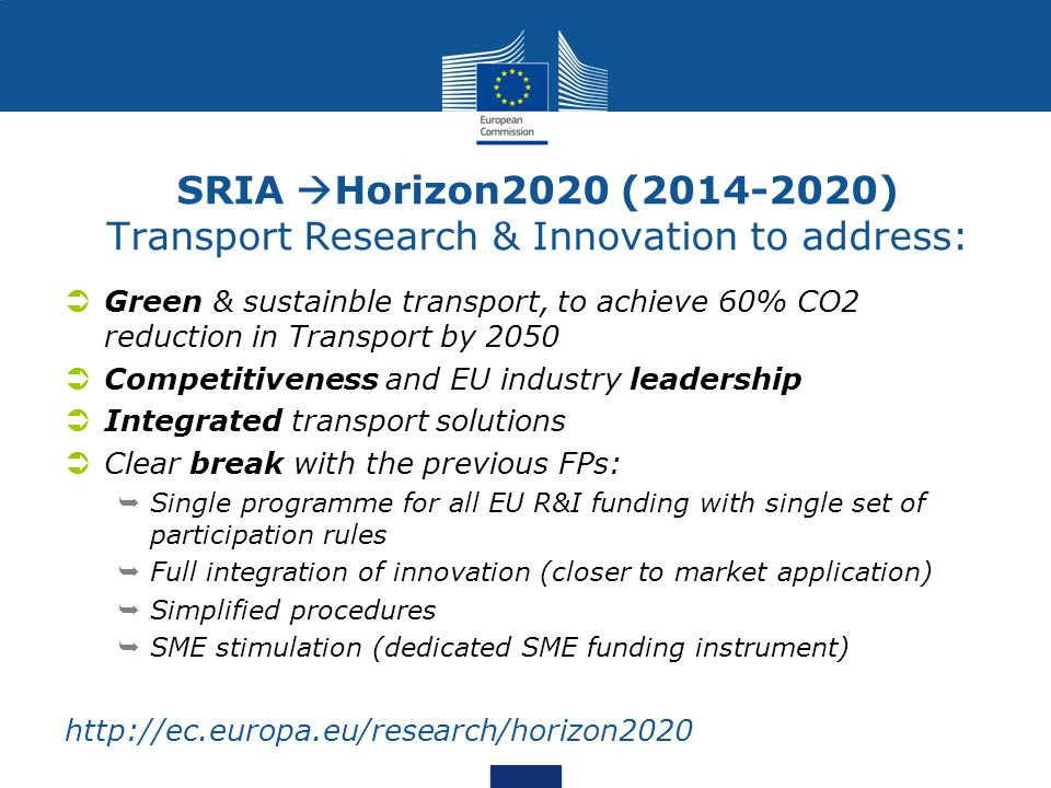 SRIA Horizon2020 ( ) Transport Research & Innovation to address: