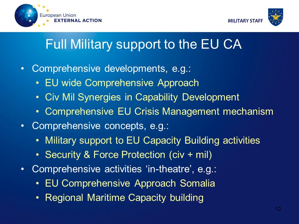 Full Military support to the EU CA