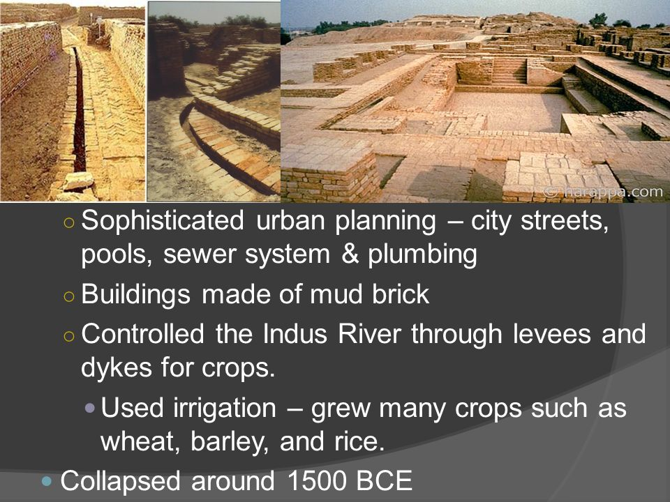 Sophisticated urban planning – city streets, pools, sewer system & plumbing
