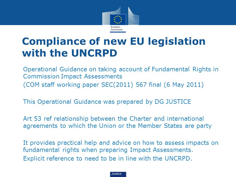 Compliance of new EU legislation with the UNCRPD