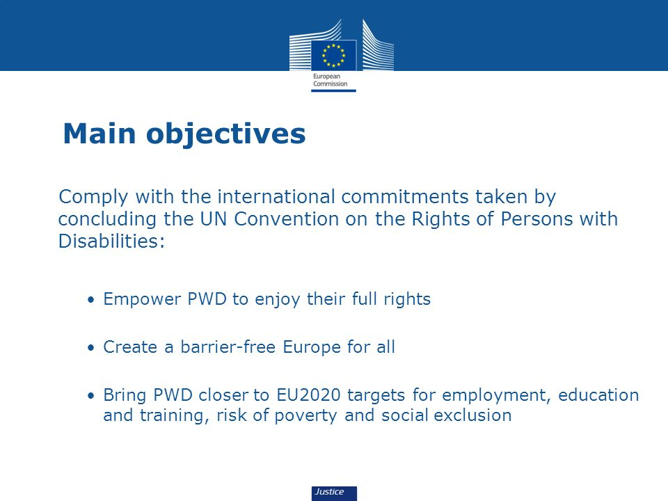 Main objectives Comply with the international commitments taken by concluding the UN Convention on the Rights of Persons with Disabilities: