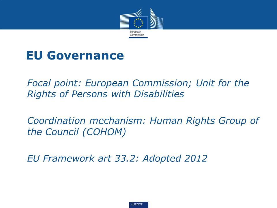 EU Governance Focal point: European Commission; Unit for the Rights of Persons with Disabilities.