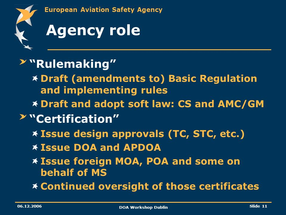 Agency role Rulemaking Certification