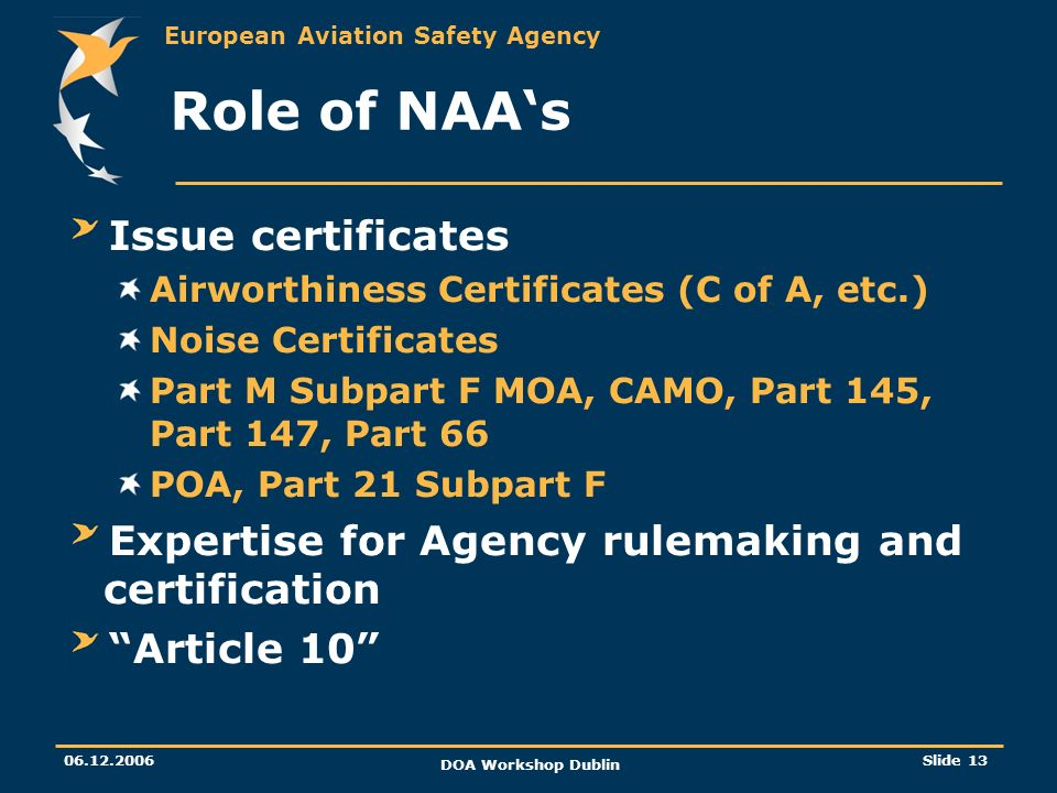 Role of NAA's Issue certificates