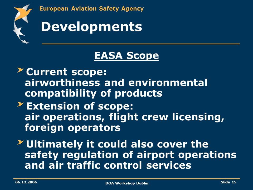 Developments EASA Scope