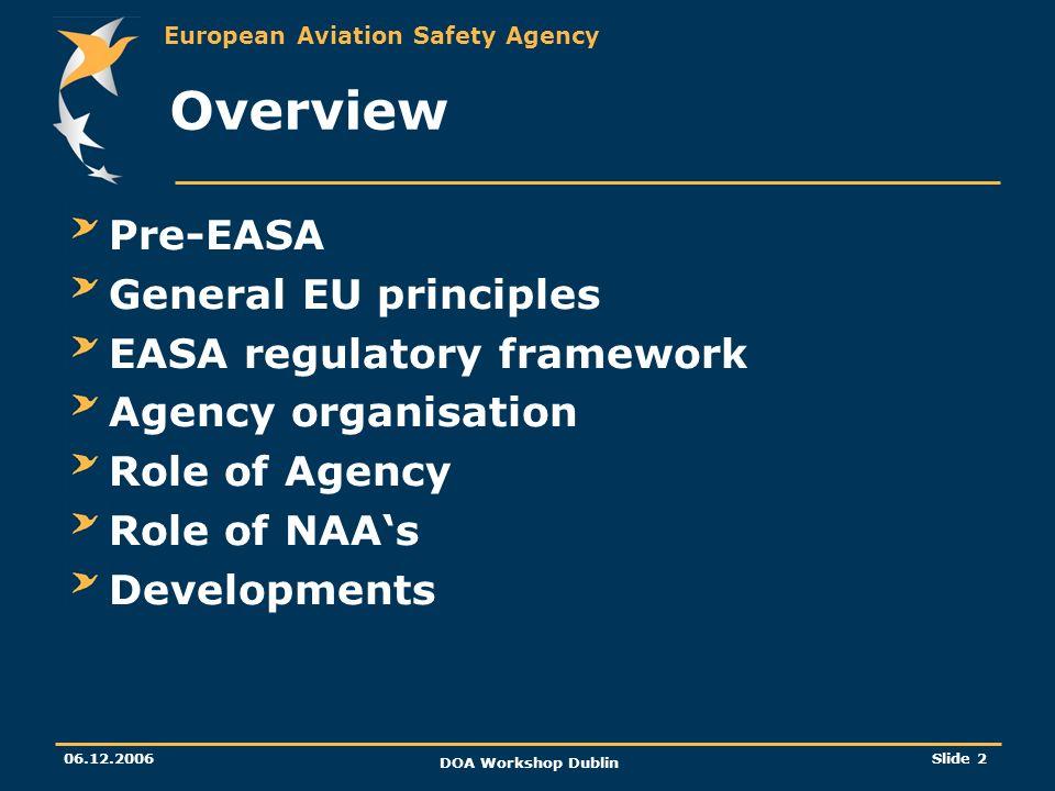 Overview Pre-EASA General EU principles EASA regulatory framework