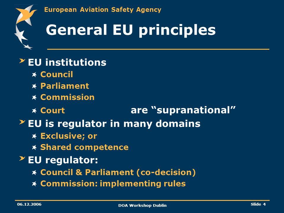 General EU principles EU institutions EU is regulator in many domains