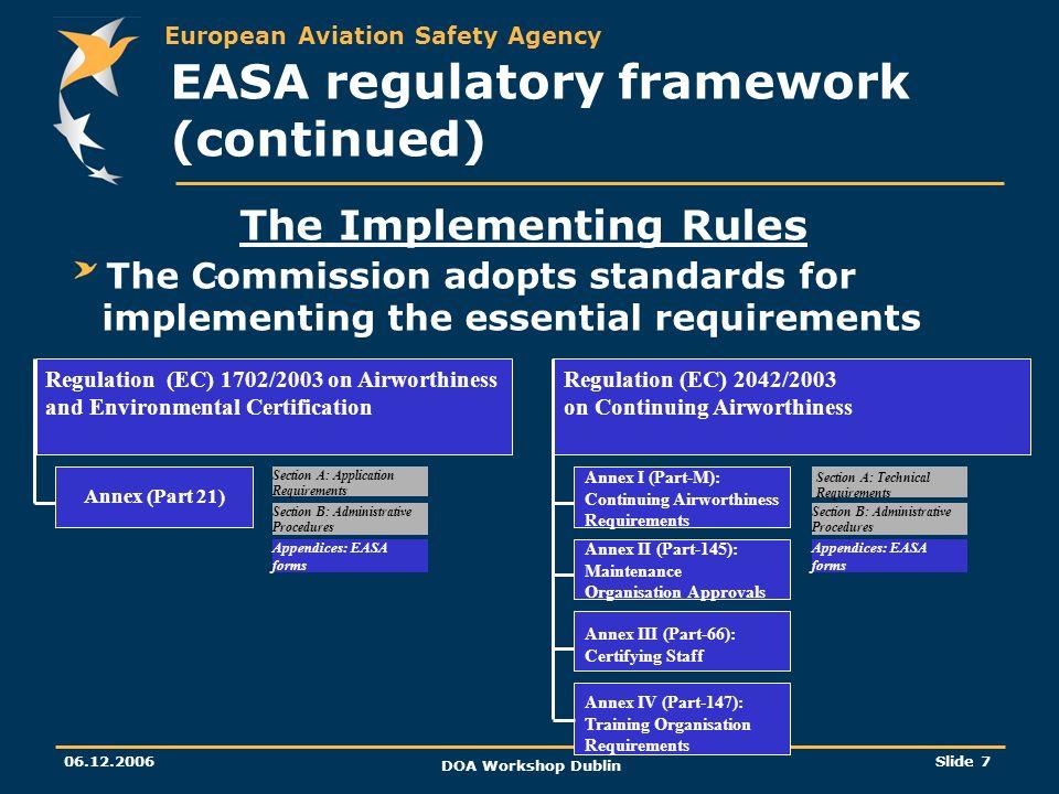 EASA regulatory framework (continued)