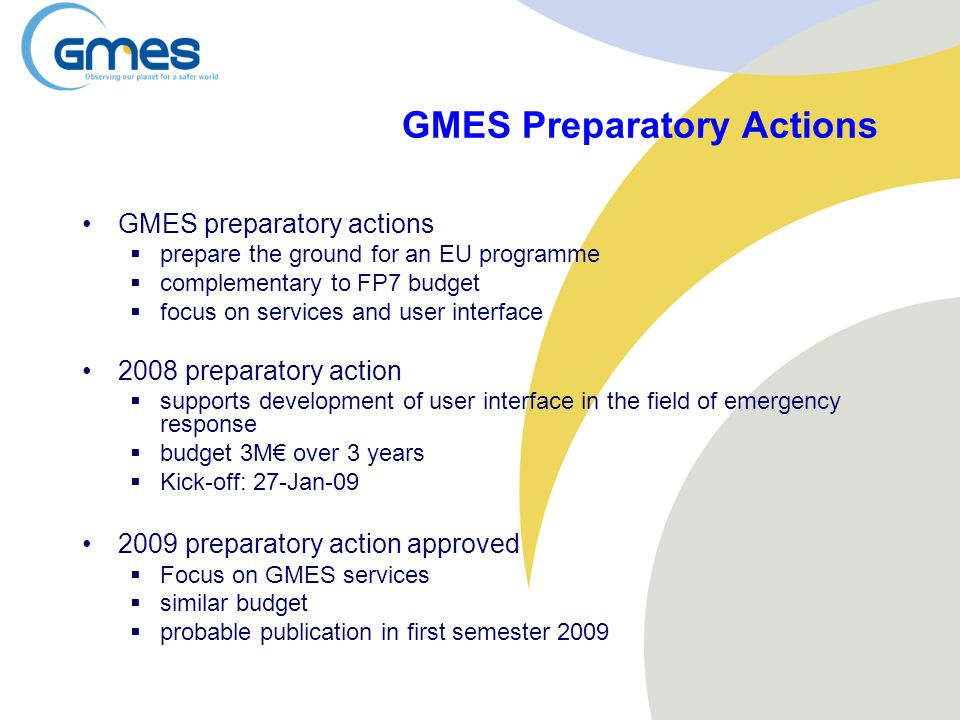 GMES Preparatory Actions