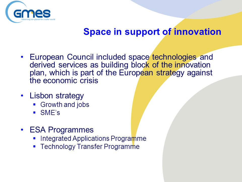Space in support of innovation