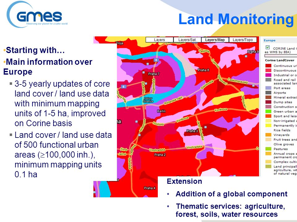 Land Monitoring Starting with… Main information over Europe